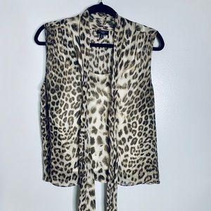 TALBOTS Cheetah print sleeveless noise- 14P *E442*
